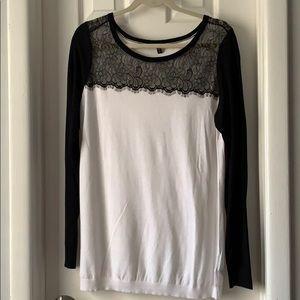 Express white black lace sweater large